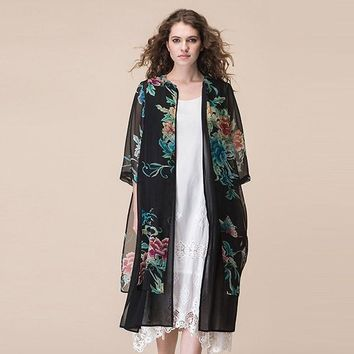Cover ups Bikini Jiqiuguer Womens Boho Kimono Cardigan Flower Printed Blouses Plus Size Loose Long Ladies Tops 3/4 Sleeve  G172Y044 KO_13_1