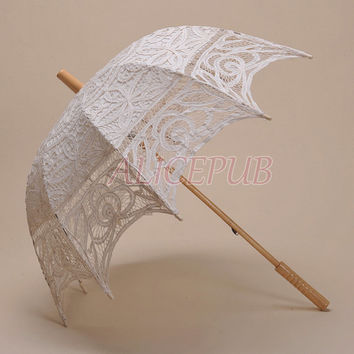 Parasol Umbrella, Wedding Umbrella Lace, Ivory Bridal Parasol Battenburg Lace Umbrella, Bridesmaid Umbrella Gift Photo Prop Umbrella HS14A-1