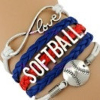 Softball Bracelet - Royal/Red