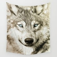 Smokey Sketched Wolf Wall Tapestry by Inspired Images