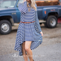 Walking By The Beach Stripe Dress (Navy)