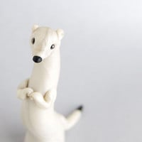 Ermine Figurine - Weasel in Winter White by Bonjour Poupette