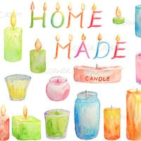 Watercolor clipart scented candles letter candles printable instant download for scrapbook cards invitations shop banner wall deco