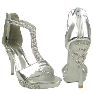 Womens Dress Sandals Embellished Wrap Around Strap High Heel Shoes Silver SZ 8