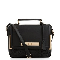 Black Leather Snakeskin Textured Panel Satchel