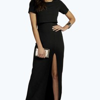 Lydia Double Layer Front Spilt Maxi Dress