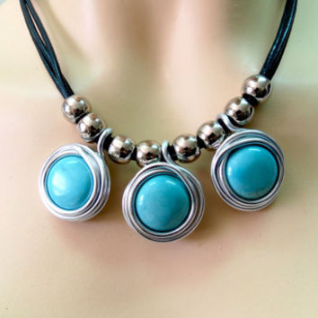 Turquoise Jewelry, Turquoise Necklace, Wrapped Turquoise Stone Necklace, Turquoise And Silver Necklace, Unique Turquoise Necklace, Turquoise