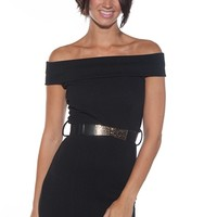 Vamp and Vogue Belted Off the Shoulder Mini Dress - Black