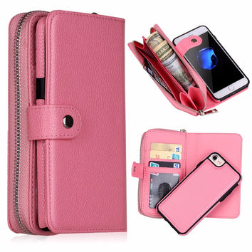 Women PU Leather Zipper Handbag Wallet Purse Cases for iPhone 7 6 6S 6 Plus 5S 5 SE 5C Samsung galaxy s7 edge s7 S6 S5 Note 5