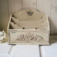 Antique Cream Ornate Mail Organizer, Distressed Letter Holder, Floral Cream Mail Holder, Desk Organizer,  Home or Office, Shabby Chic