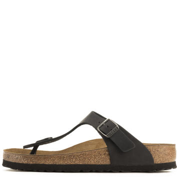Birkenstock for Women: Gizeh Oiled Leather Black Sandals