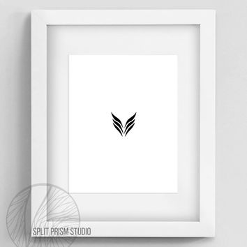 Original Art Print, Geometric Print, Art, Digital File, Wall Art, Black and White, Abstract, Modern Art, Graphic Art, Wings, Instant