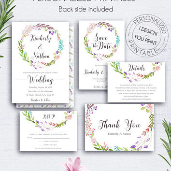 Invitation Set Floral Wreath, Wedding, Details Card, Nature Invites, Wedding Cards, Save the Date Card, Response Card