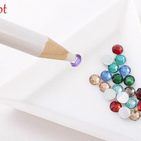 4Pcs Dotting Pens White Nail Art Rhinestones Gems Picking 3D Design Painter Pencil Pen Dotting Tools Kit Nail Beauty Picking Tool Hot 4384