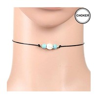 Freshwater Pearl and Turquoise Leather Cord Choker Necklace