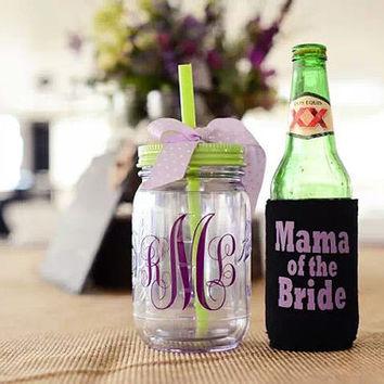 Wedding party gifts, Bridal party set of 10, Customizable 16 oz double wall personalized acrylic mason jar with straw