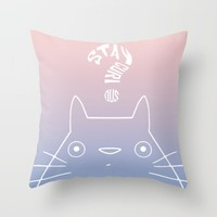 Stay Curious | Serenity & Rose Quartz Throw Pillow by Miss L In Art