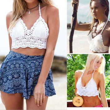 DCCKHQ6 Hot Women Sexy Crochet Unpadded Bralette Bralet Bra Bustier Tank Crop Top Blouse