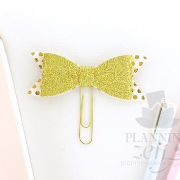 Planner Clip White and Gold Glitter Polkadots Bow Faux Leather