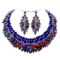 Affordable Wedding Jewelry Sapphire Blue Ab Austrian Crystal Statement Silver Earrings Necklace Set One of a Kind