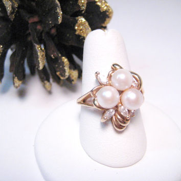 Vintage 14k Yellow Gold Pearl Ring with CZ Accents Dorsons Fine Jewelry Ring D. Ornstein & Sons N.Y., N.Y.