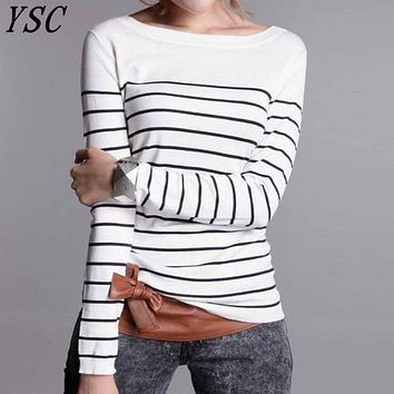 YUNSHUCLOSET Bohemian  Hot Sales Women's Knitted Cashmere Wool Sweater Stripe Woman Winter Clothes Pullover Free Shipping