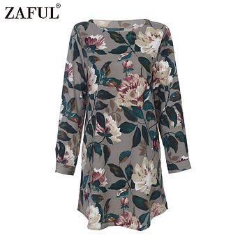 ZAFUL 2017 Casual Floral Print Summer Dress Vintage Straight Round Collar Long Sleeve Oversized Female Dresses Pockets Vestidos