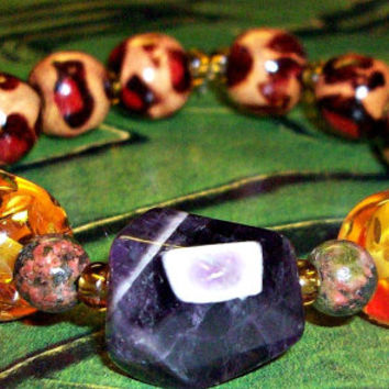 "Men's Bracelet Genuine Amethyst, Amber Colored Artisan Glass, Jasper and Wood ""I am Calm"""