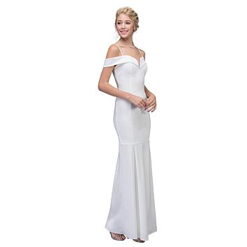 Off White Off Shoulder Mermaid Style Evening Gown with Sweetheart Neckline