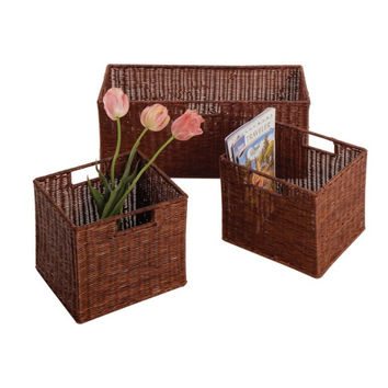 Leo Set of 3 Wired Baskets, 1 Large & 2 Small