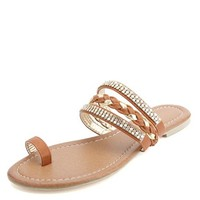 EMBELLISHED & BRAIDED METALLIC TOE LOOP SANDALS