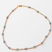 Freshwater Pearls, Natural Labradorite Oval Spacers, Gold plated German clasp, Choker, Elegant necklace, Gift for her
