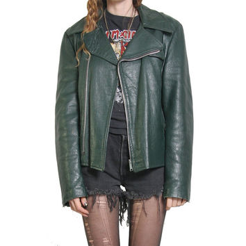 60s Hunter Green Leather Motorcycle Jacket - The Old Mill - Glen Paine by BAINTON - 60s Leather Jacket - Vintage Leather - Biker Punk Rocker