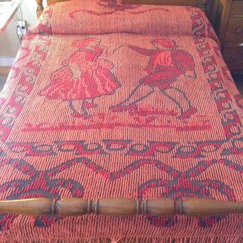 Vintage Chenille Bedspread Figural Dancing Folk Couple Jolitex Colchas Brazil Earth Tones Brown Umber Orange