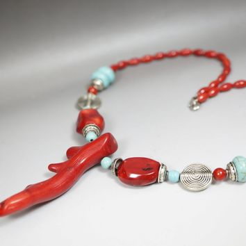 Large Coral Necklace - Coral Jewelry - Red Coral Chunky Red Coral Choker - Turquoise Necklace