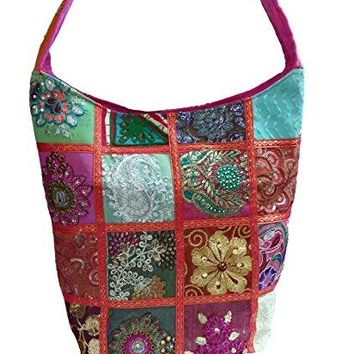 Embroidered Sequin Patch Indian Sari Decorative Cross body Shoulder Bag