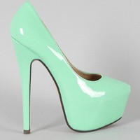 Fanatic Patent Pointy Toe Platform Pump