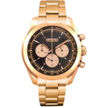 Orefici Vintage Chronograph Rose Gold Tone Chocolate Brown Dial Watch ORM16C4306