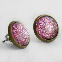 Pink Glitter Post Earrings in Antique Bronze - Pink, Purple & Fuchsia Glittery Stud Earrings