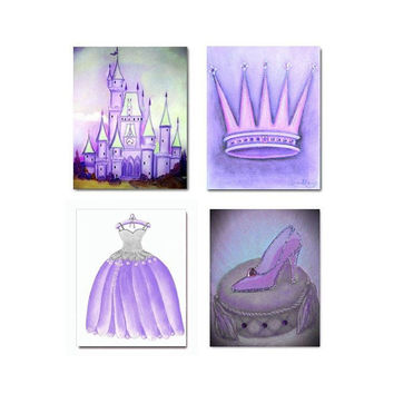 Princess Purple Decor SET OF 4 Art Prints, Cinderella, Nursery Prints, Nursery decor, Kids Wall Art, Baby Girl Nursery Art, Princess Nursery