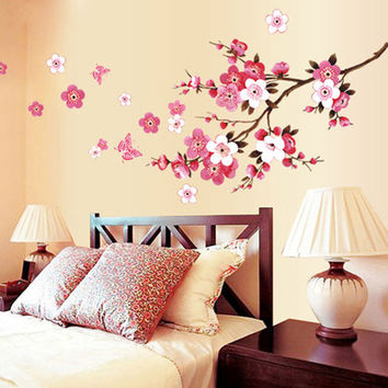 Flower Wall Stickers Living Room Home Decorations Adhesives Walls Decals Vinyl Mural Arts Wedding Bedroom Wall Sticker Kitchen