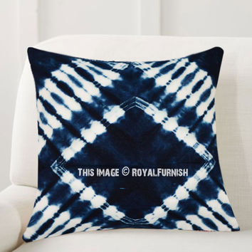 Dark Blue Prism Indigo Shibori Throw Pillow Cover 16X16 Inch on RoyalFurnish.com