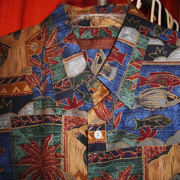 Amazing Vintage Hawaiian Shirt TORI Richard Seaworld Size M 100% Cotton Made in USA