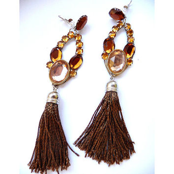 Boho Tassel earrings, Boho earrings, Tassel Earrings, Long Tassel Earrings, Fringe Earrings, Brown earrings, amber earrings, Brown tassel