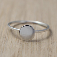 925 sterling silver full moon round ring