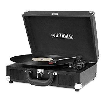 Innovative Technology - Victrola Vintage 3-Speed Bluetooth Suitcase Turntable with Speakers, Black