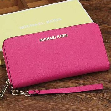 MK Fashion Ladies Leather Zipper Wallet Purse Rose Red I