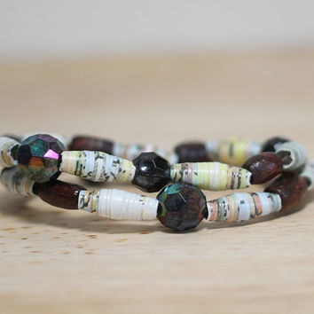 Earth Tone Recycled Paper Bead Bracelet Made With Damaged Childrens Book