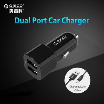 ORICO Dual Port USB Output Car Charger 2.4A max Charge+Micro USB Cable 1M for Samsung Galaxy Xiaomi and More Smart Phones