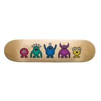 Rainbow Alien Monsters Custom Skateboard from Zazzle.com